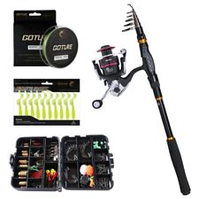 Telescopic Fishing Rod Spinning Reel Combo Fishing Tackle Box Full Kit Saltwater