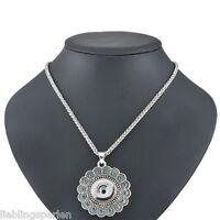 1 Halskette Weckselschmuck für Click Buttons Blume Anhänger Antiksilber 58cm L/P