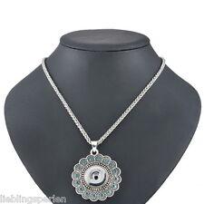 1 Halskette Weckselschmuck für Click Buttons Blume Anhänger Antiksilber 58cm LP