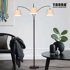 3LT Acro Curve Morden Floor Lamp Stand Fabric Shade Metal Base Black