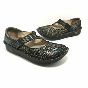 Alegria Womens Dayna Leopard Stripes Mary Jane Shoes Size 40 Metallic Multicolor