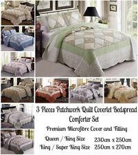 3 Pcs Patchwork Quilt Coverlet Bedspread Comforter Set Queen King Super King Bed