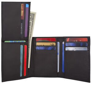 Genuine Leather Mens Thin Wallet 10+ Credit Card Holder Trifold Flip Up ID