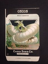 1930-40s Litho Antique Vintage Seed Packet Onion White Card Seed Co Pack Mint