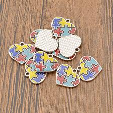 10Pcs Autism Charms Pendant Heart Puzzle Autistic Awareness Jewellery Making DIY