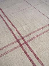 Vintage pure linen hand kitchen burgundy hemp towel napkin