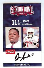 B.J. SCOTT 2013 SENIOR BOWL AUTO SOUTH ALABAMA JAGUARS SIGNED ROOKIE AUTOGRAPH