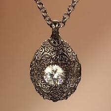 New Les Bijoux Carved Dark Filigree Pendant