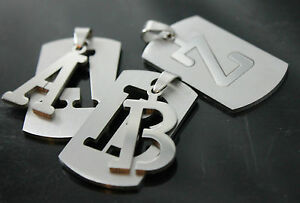 DOG TAG ARMY Pendant A to Z Stainless Steel Initial Letter Necklace Military