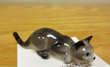 ➸ HAGEN RENAKER Cat Miniature Figurine Grey Silver Cat Kitten Crouching