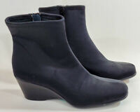 Skechers Stretch Side Zip Womens Suede Boots Wedge Heeled Ankle Booties Black 8