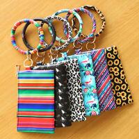 PU Leather O Circle Bangle Keychain Hang Change Purse Phone Bag Tassel Wristlet