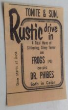 Greensburg Norvelt PA Rustic Drive-In Movie Theatre Ad Frogs Dr. Phibes Postcard