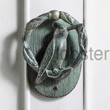 HUMMINGBIRD HUMMER DOOR KNOCKER Green Patina Metal Doorknocker Nature Bird