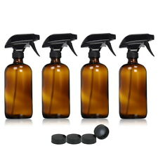 4pcs Amber Glass Spray Bottles Trigger Sprayer Essential Oils Aromatherapy 500ml
