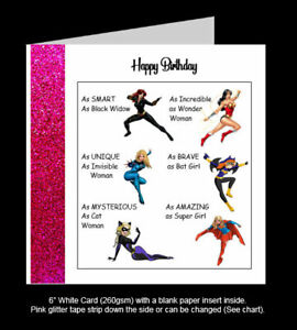 Superhero Birthday Card, Superwoman, Wonder Woman, Bat Girl, SuperGirl, CatWoman