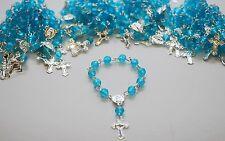 24 X RECUERDOS MINI ROSARY BLUE COMUNION FAVORS BOYS BAPTISM KEEPSAKE ROSARIO DZ