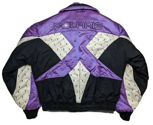 VINTAGE 80'S THERMOLOFT INSULATED Polaris Satin Snowmobile Jacket Coat Mens XL