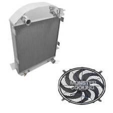 "Ford T-Bucket Chevy config. Aluminum 2 Row 1"" Tubes Radiator,Fan & Relay, AE1005"
