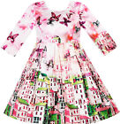 Sunny Fashion Robe Fille Satin Soie Papillon Ville Bâtiment Vue Rose 4-10 ans