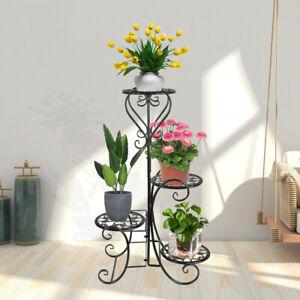 4 Tier Metal Shelves Flower Pot Plant Stand Display Indoor Outdoor Garden Black
