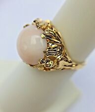 Natural Angel Skin Coral 14K Yellow Cold Cocktail Ring Vintage