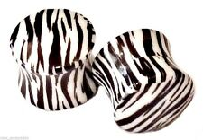 "PAIR-Zebra Stripe Acrylic Double Flare Ear Plugs 12mm/1/2"" Gauge Body Jewelry"