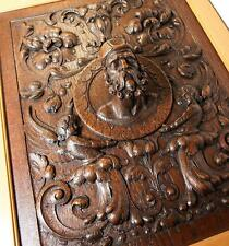 Fab Antique Hand Carved Oak Panel in Frame, Figural Bas Relief Grotesques, Bust