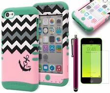 Hybrid Pink Chevron Anchor Case Cover+Stylus+Screen Protecter for iPhone 5C
