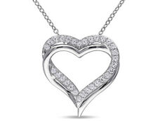 Created White Sapphire 5/8 Carat (ctw) Pendant Sterling Silver With