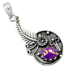 DAILY DEALS Purple Copper Turquoise 925 Sterling Silver Flower Pendant D44863