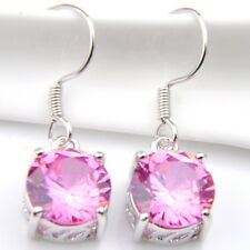 Gorgeous Round Natural Pink Fire Topaz 925 Silver Plated Dangle Hook Earrings