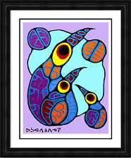 "Norval Morrisseau Limited Edition Print ""Family of Birds"" - Framed Canvas"