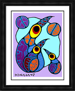 """Norval Morrisseau Limited Edition Print """"Family of Birds"""" - Framed Canvas"""