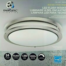 Energetic 14-inch Double Ring LED Flush Mount Ceiling Light, 24w, Dimmable