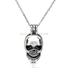 V60 Vintage Skeleton Skull Locket Diffuser Necklace Ghost Aromatherapy Halloween