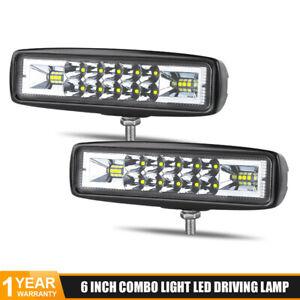 2x 6' 20W LED Work Light Bar Spot Flood Pods Truck Offroad 4WD SUV Fog Boat Lamp
