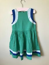 New Mini Boden Sporty Stripe Dress 6-7 years Green