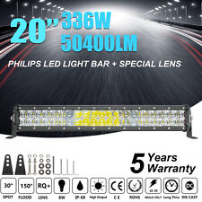 "PHILIPS 20inch 336W LED LIGHT BAR COMBO Offroad DRIVING LAMP 4WD LENS VS 22"" 24"""