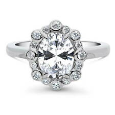 Halo Promise Engagement Ring 2.1 Ctw Berricle Sterling Silver Oval Cut Cz Bubble