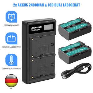 2x Akku 7.2V+LCD Ladegerät Für Sony DSLR A450Y A500Y A350B A500L A200W NP-FM500H