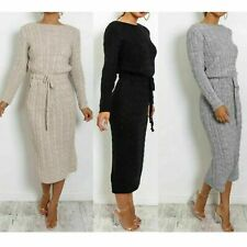 Ladies Chunky Cable Knitted Pocket Tie Up Long Sleeve Midi Party Dress Jumpers
