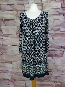 EAST navy blue patterned stretch tunic size 12