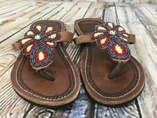 Handmade MAMA ANNES Beaded AFRICAN Brown Leather Thong Sandals Women's Size 39
