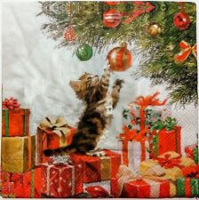CAT KITTEN CHRISTMAS 2 individual  LUNCH SIZE paper napkins for decoupage 3-ply