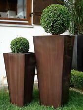 "Casa Mina Zink Blumenkübel Pflanzkübel ""Rangoon"" 2er Set Braun 85/65cm"
