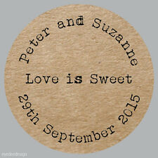 48 x LOVE IS SWEET Personalised Wedding Brown Kraft Effect Favour Stickers 257