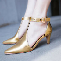Womens Ladies T-Strap Kitten Heels Pointed Toe Ankle Buckle Leather Casual Shoes