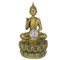 """Water Fountain w Led Lights Protection Thai Buddha Zen Indoor Home Decor 12"""" New"""