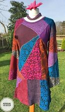 STRIKING NEW PURPLE GRINGO PATCHWORK HIPPIE DRESS SIZE UK 12 US 10 BOHO GYPSY